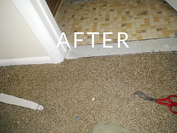 Damaged Carpet after repair by Wilson Carpet Repair in Utah