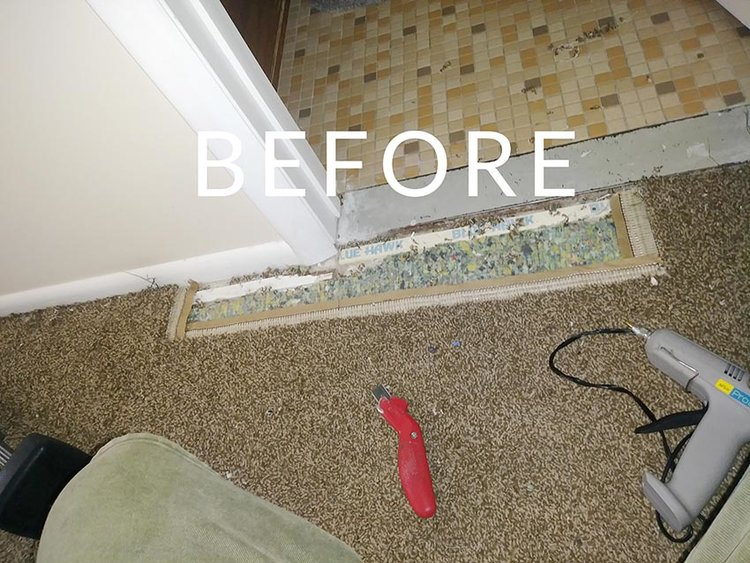 Damaged Carpet before being repaired by Wilson Carpet Repair